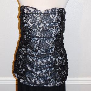 2 2x Torrid Black Beige Lace Strapless Top NWOT